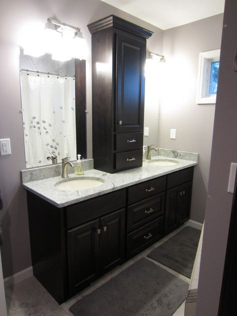 Black Bathroom Decoration Using Wood Vanity Linen Cabinets Including White Marble Top And Light Purple Wall Paint