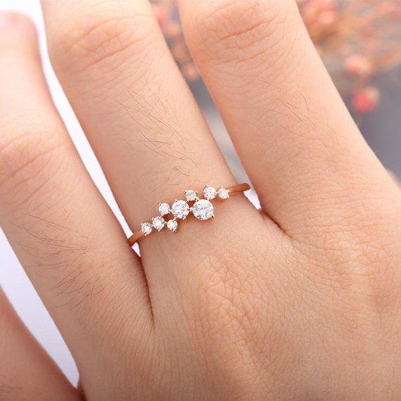 Rose Gold Verlobungsring, Diamant-Cluster-Ring, Blume Ehering, Mini Twig Brautschmuck, einzigartig – Neue Mode Ringe – Emma