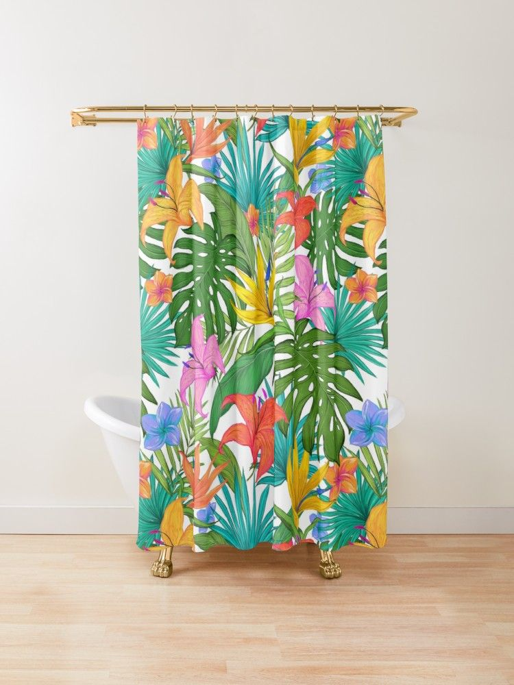 Tropical Leaves Tropical Plants Tropical Flowers Shower Curtain By Prettylovely Redbubble T With Images Floral Shower Curtains Flower Shower Curtain Tropical Leaves