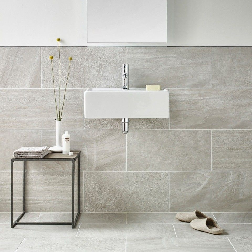Grey And White Marble Bathroom: Inverno Grey Marble Effect Rectified Wall And Floor Tile