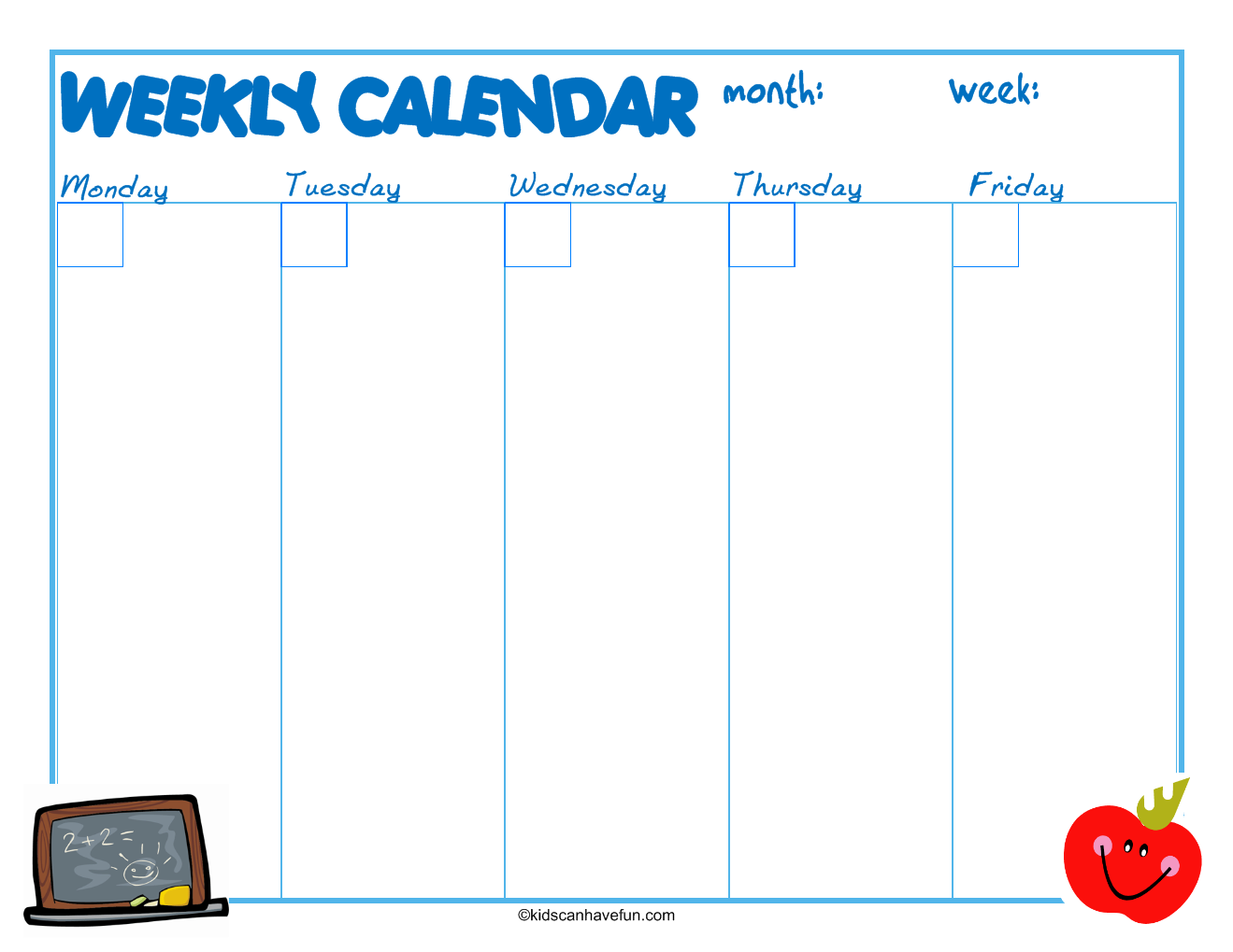Printable Calendars With Calendar Templates For Each Calendar Month. Fun  Calendars To Color For Home And School.