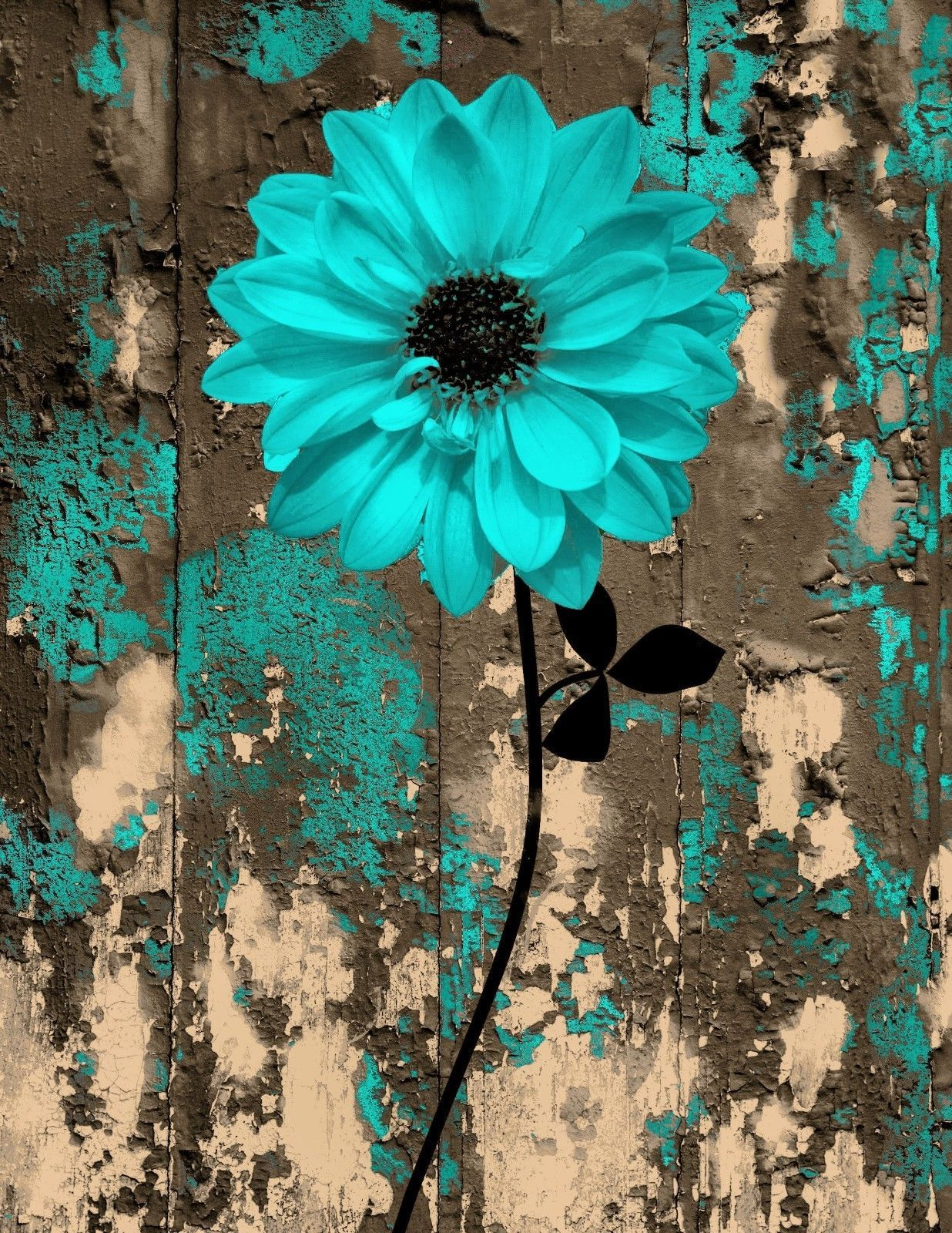 Rustic Teal Brown Floral Bedroom/Bathroom Wall Art Home Decor