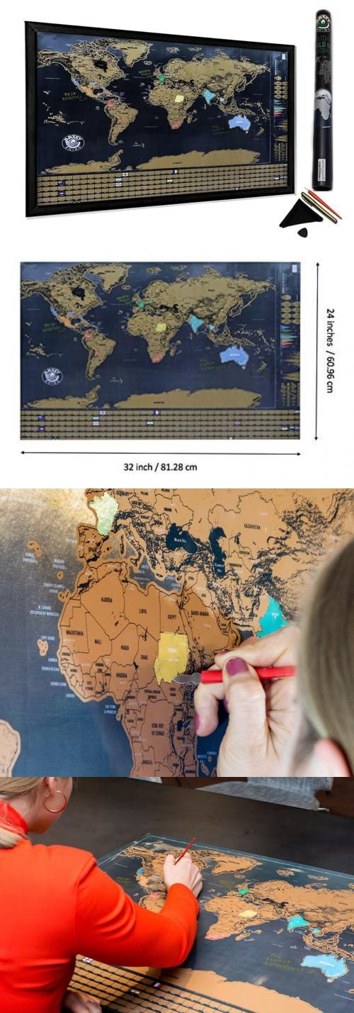 Other Travel Maps 164807 Scratch Off World Map Poster With Us