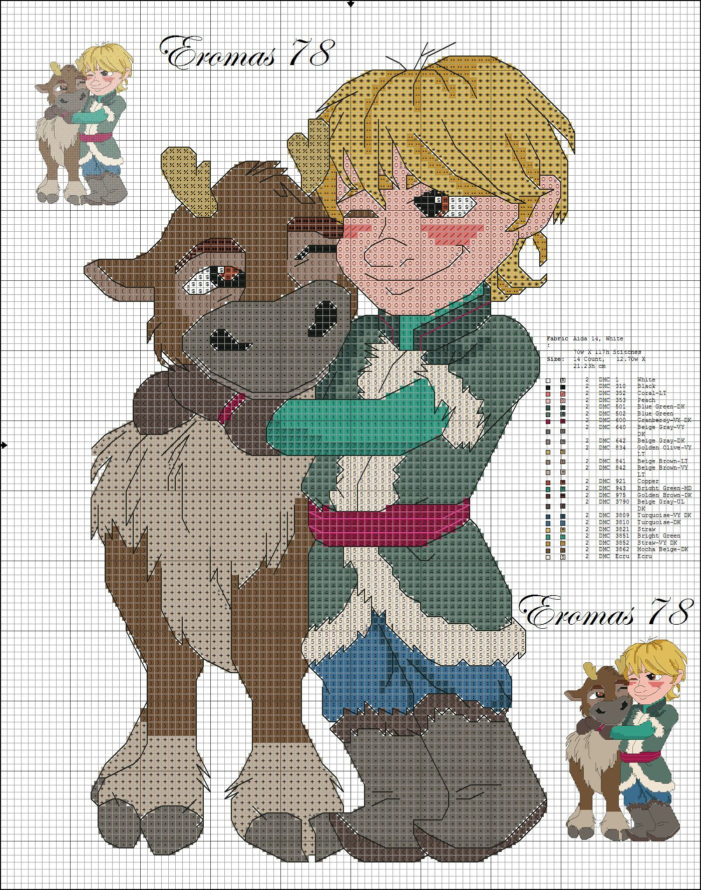 Picture Only Sven And Kristoff Disney Frozen Cross