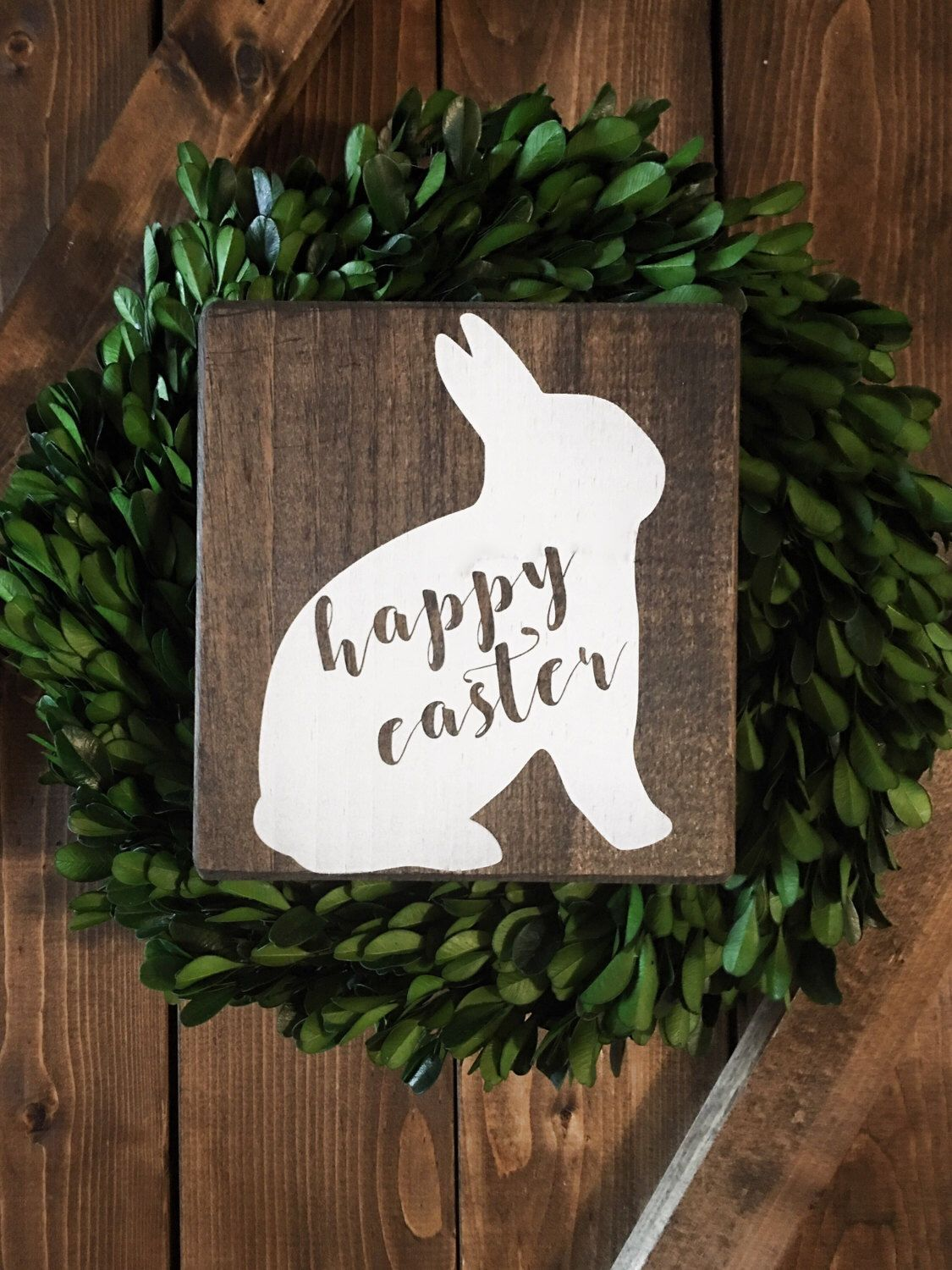 Happy Easter Wood Sign Farmhouse Style Dark Stain Rustic Neutral