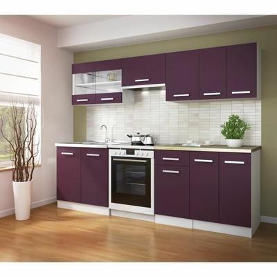 ultra cuisine compl te avec plan de travail l 2m40 aubergine mat cuisine lin aire lineaires. Black Bedroom Furniture Sets. Home Design Ideas