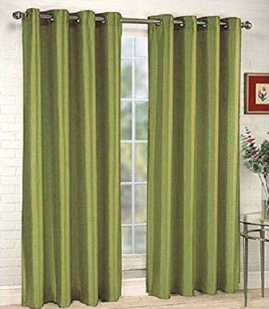 Amazon Com Solid Sheer Grommet Faux Silk Window Curtain Drapes