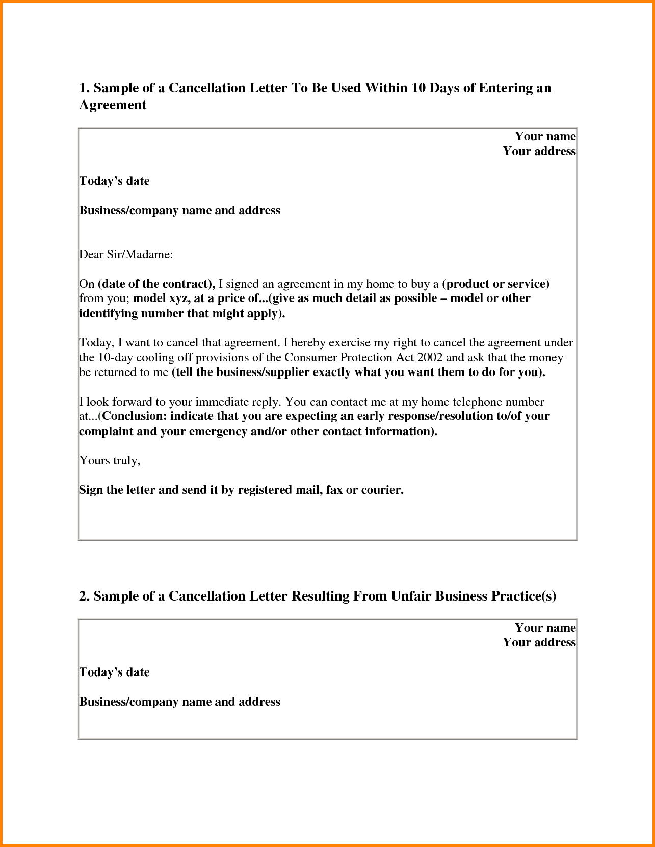 contract cancellation letter samples