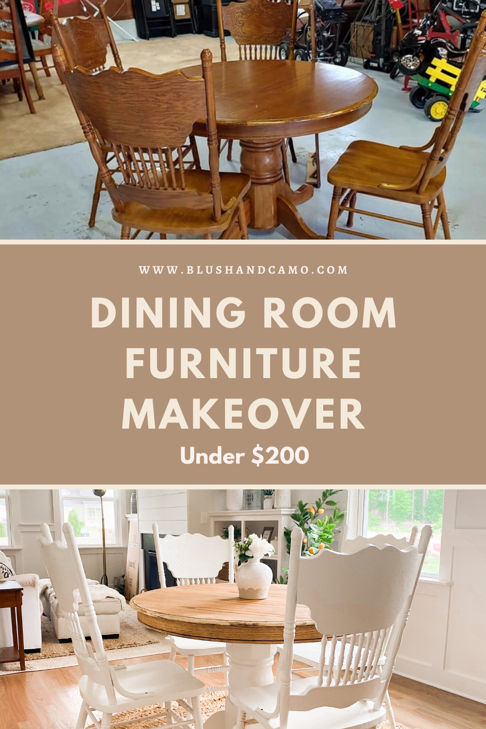 Dining Room Furniture Makeover Under 200 Blush Camo In 2020 Dining Room Furniture Makeover Furniture Makeover Farmhouse Dining Room Set