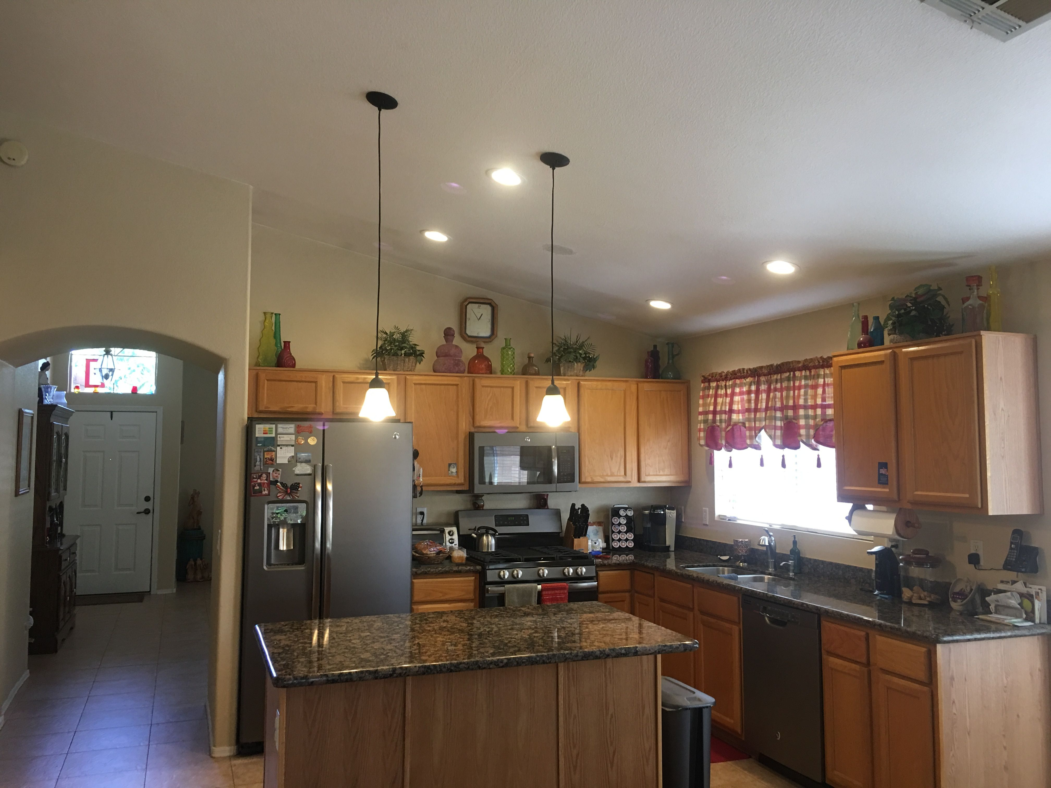 pendant lighting for recessed lights. Installed 4 X 6- Inch Recessed Lights With A Dimmer Switch And 2 Pendant Lighting For