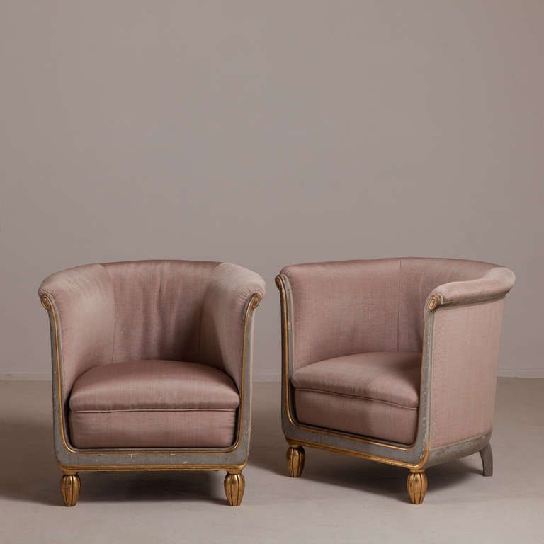 A Pair of Small French Tub Chairs 1920s Upholstered By Talisman ...