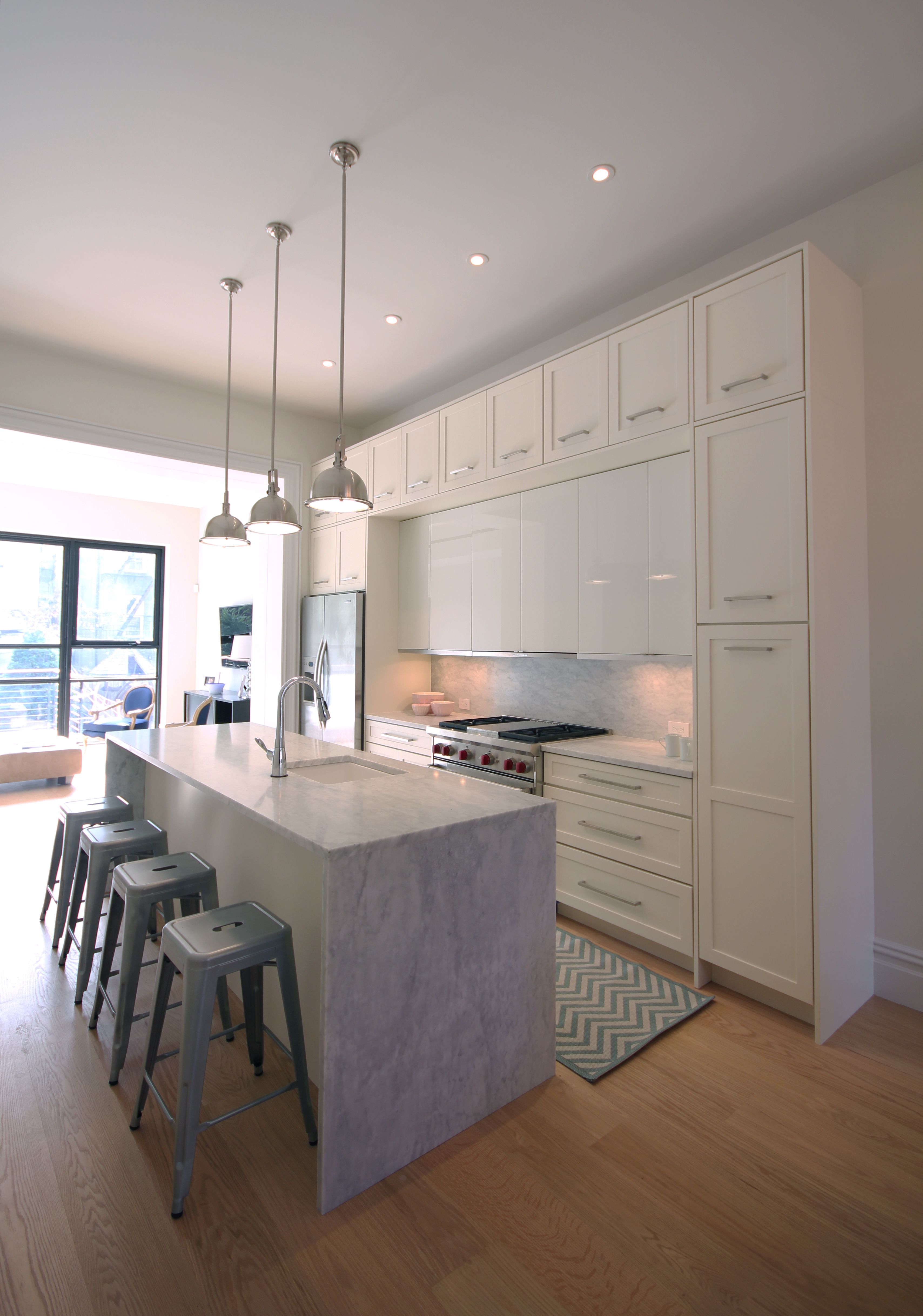 Natural Light Floods This Contemporary Marble Kitchen With White Cabinets    Carroll Gardens Townhouse By Sarah