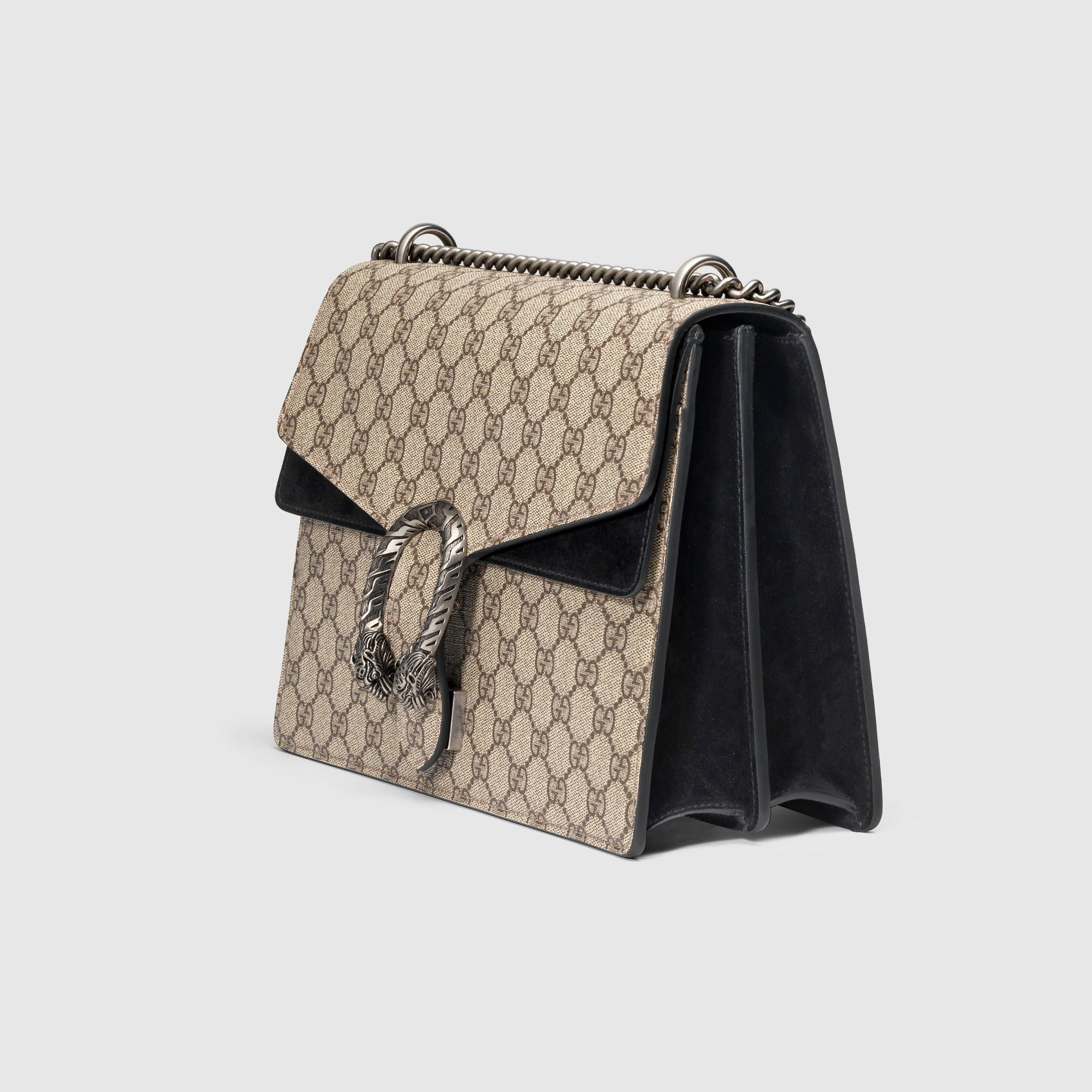 045973077ba Gucci Women - Gucci Dionysus Beige Ebony GG Supreme canvas w Black Suede  Detail shoulder bag -  2
