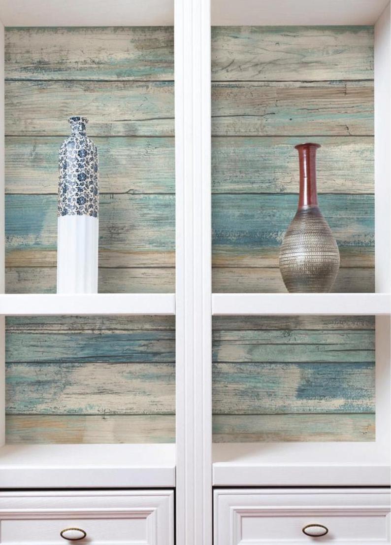 Weather Worn Blue Shiplap Wallpaper Removable Peel Stick Etsy Farmhouse Backsplash How To Distress Wood Peel And Stick Wallpaper