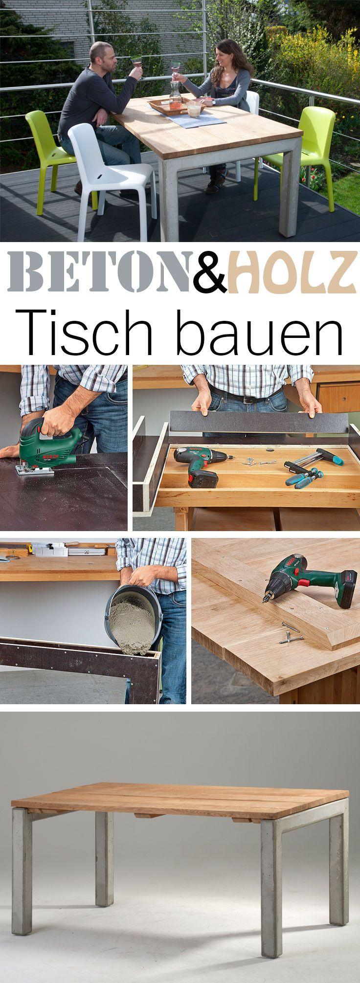 Beton-Esstisch | Tisch bauen, Möbel aus beton und Deko aus beton