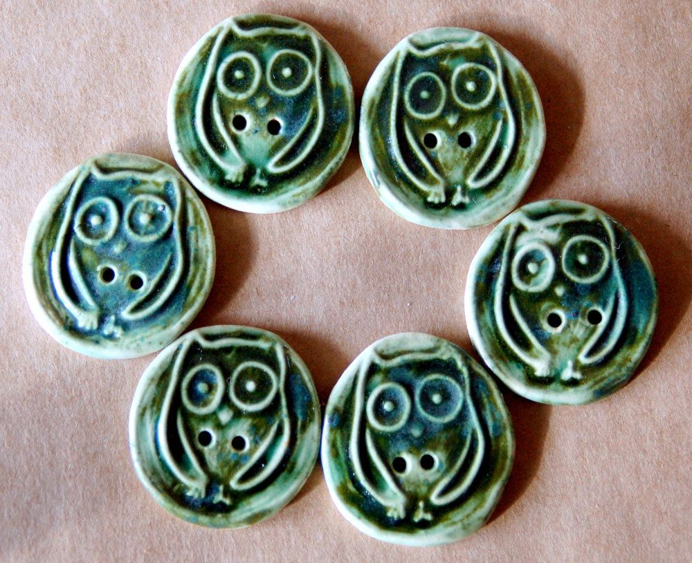 6 Stoneware Owl Buttons