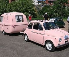 Think pink / Pink Fiat 500 and teeny little camper.