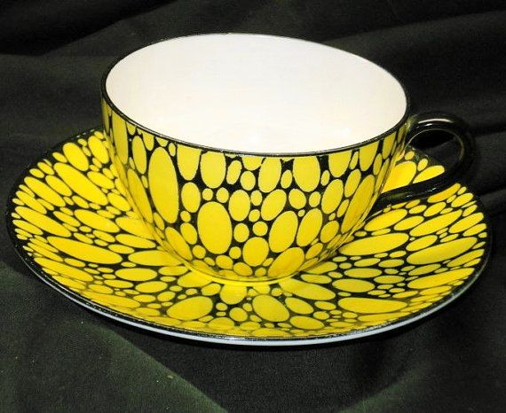 Shelley bute yellow bubbles art deco tea cup and saucer
