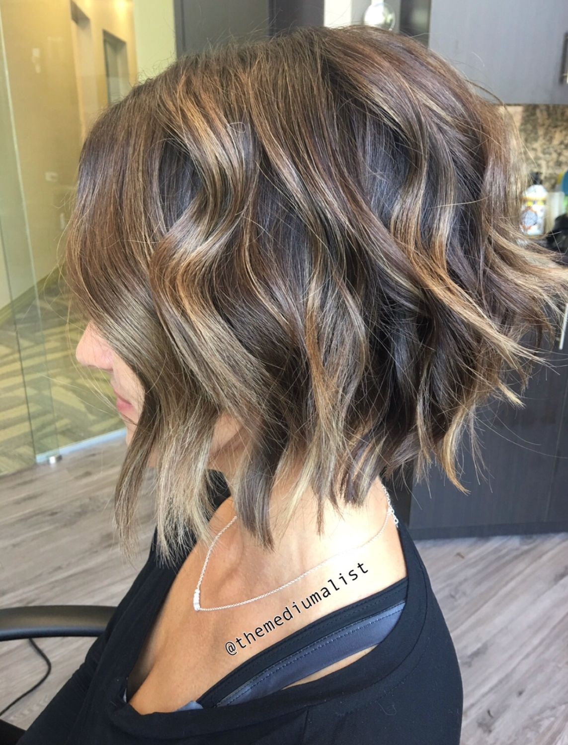 Soft Balayage with a Textured Bob Stuff in Pinterest