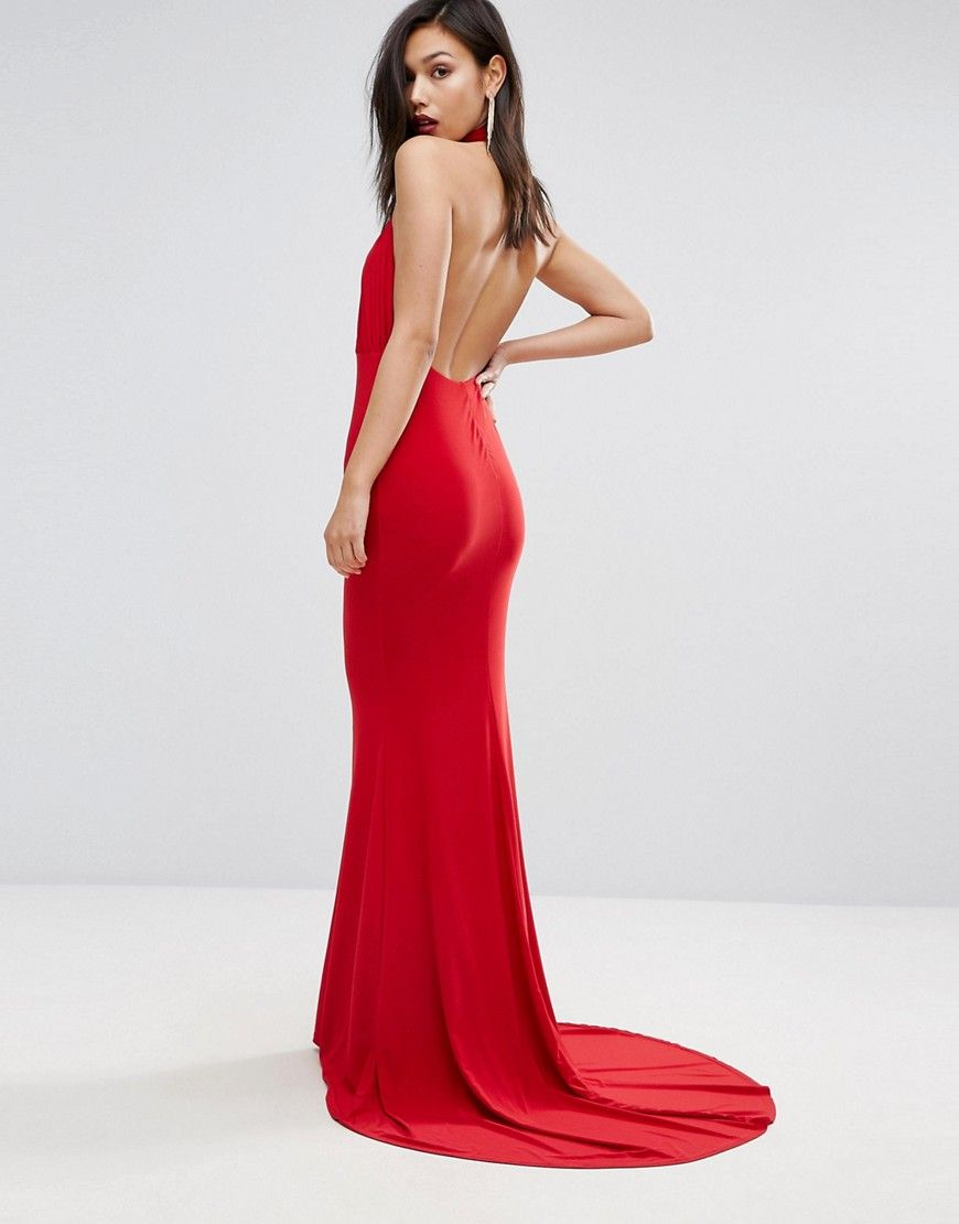 Club l high neck pleated detail fishtail maxi dress