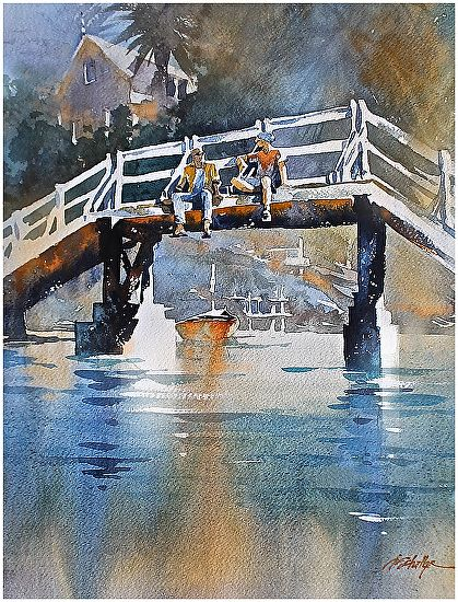 executive meeting by Thomas W. Schaller Watercolor ~ 24 inches x 18 inches