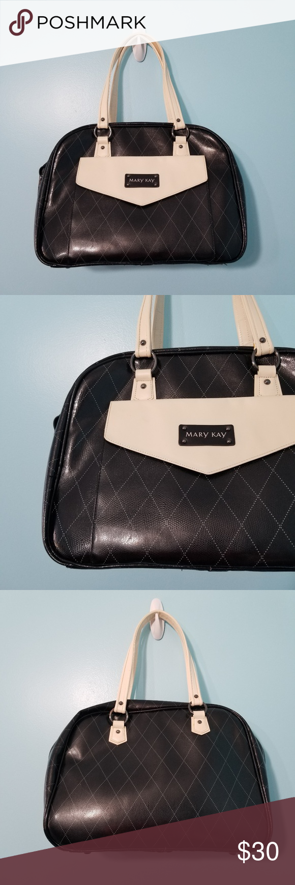 8684a2268b48 MARY KAY Black Tote Bag Mary Kay bag. Removable storage compartments. Front  pocket with flap. Diamond pattern. Cream straps. Excellent condition!