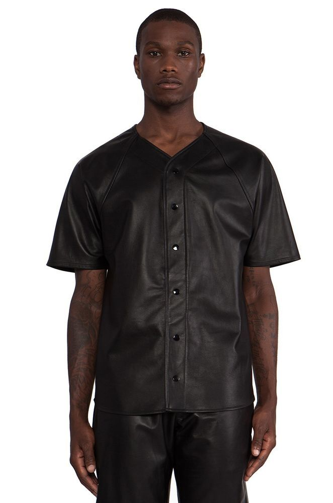New black genuine lambskin leather baseball jersey shirt for Mens xs golf shirts