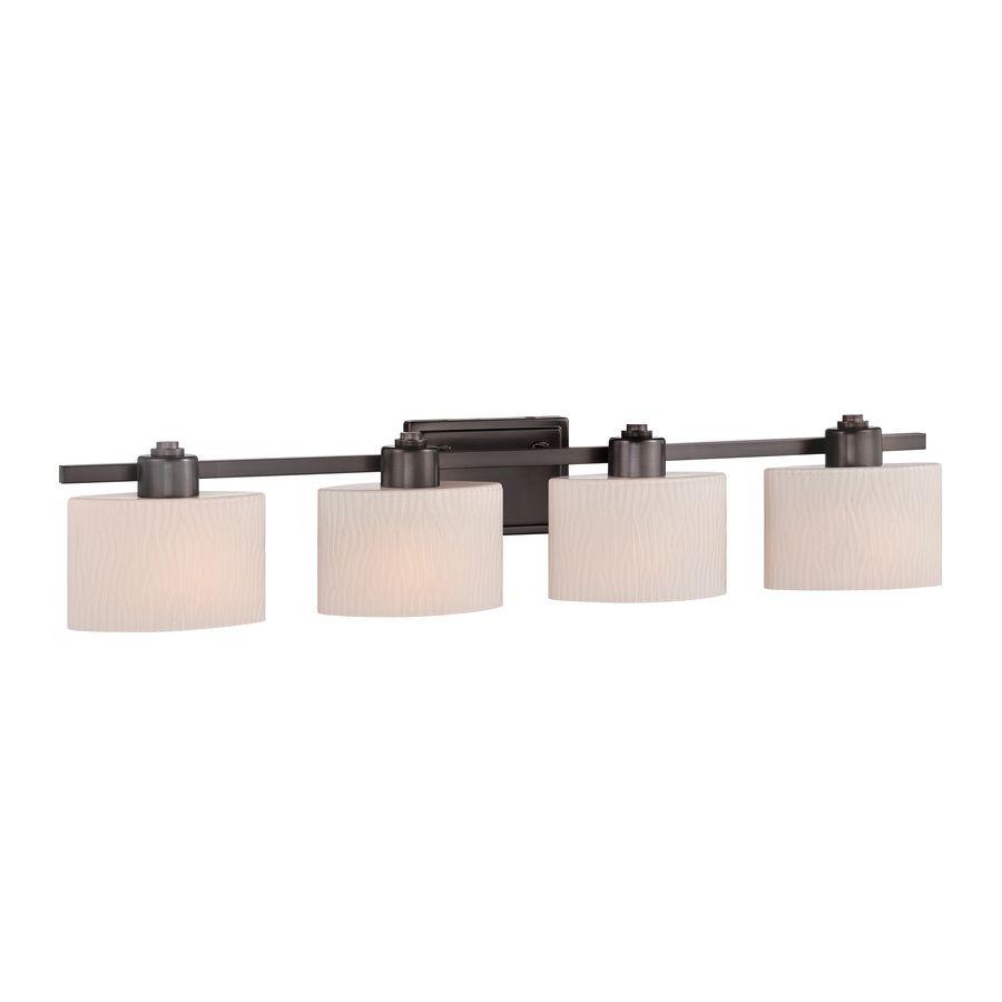 Shop Allen Roth 4 Light Grayson Copper Bronze Bathroom Vanity Light At Lowes Com Vanity