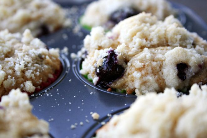 Blueberry muffins with crumble topping! Delicious :)