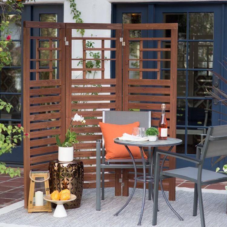 paravent de jardin design-bois-massif-meubles-acier-rable-ronde