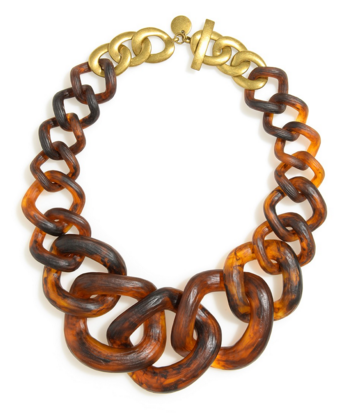 Beautifully crafted resin chunky links make a serious style statement necklace.Chunky links in tortoise fora one-of-a-kind look! 19in long, 3in extender resi
