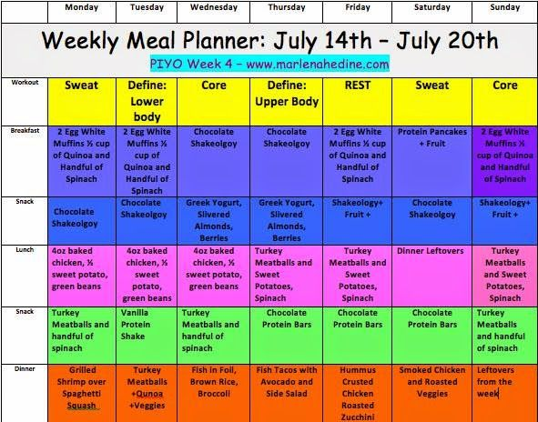 Week  Piyo Meal Plan And Progress Update  SusieS