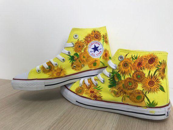 d94cb2eb7e2b8 Custom Converse Vincent Van Gogh Sunflowers Hand Painted Shoes ...