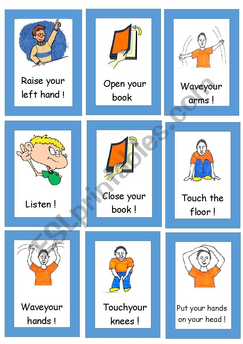 Simon Says Flashcards I Made These Because I Want My Students To Be Simon Too And They Often Run Out Of Flashcards Classroom Commands English Lessons For Kids [ 1169 x 826 Pixel ]