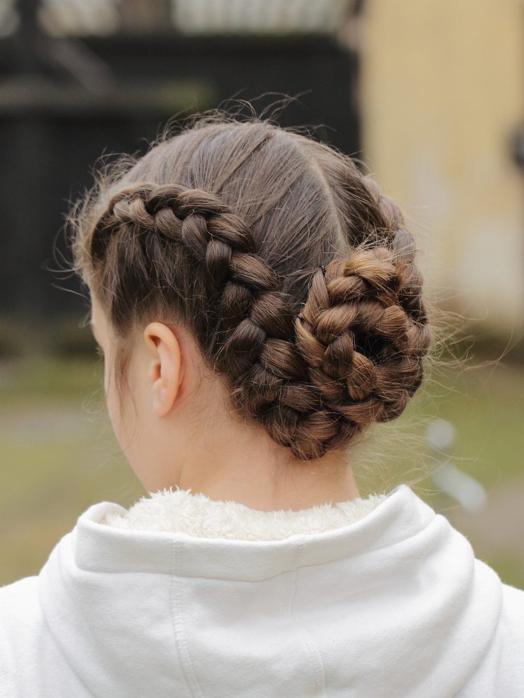 Double French Braid Bun Two Braid Hairstyles Competition Hair
