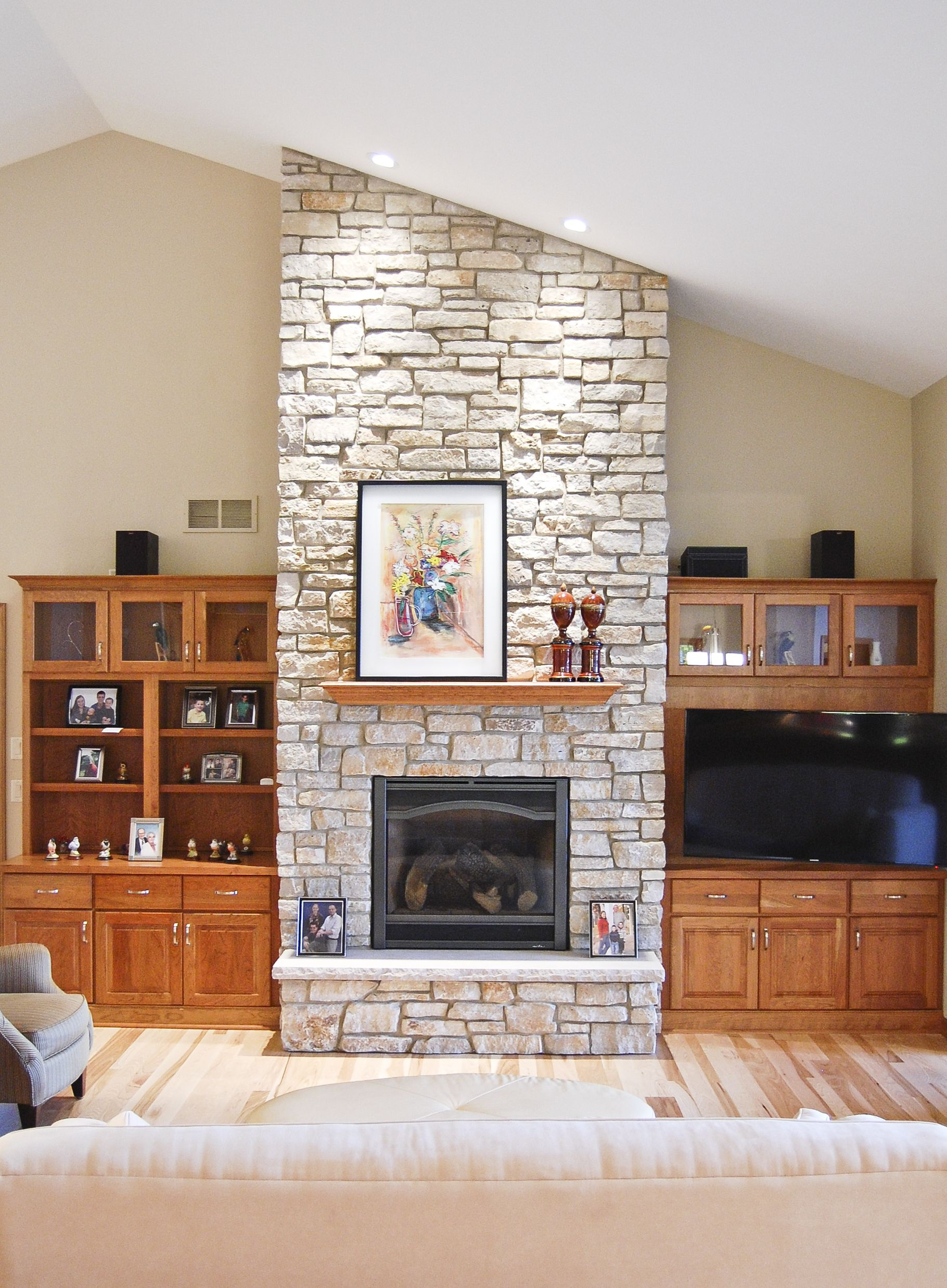 Stone Fireplace With Flanking Built In Cabinets In Cherry Tv In