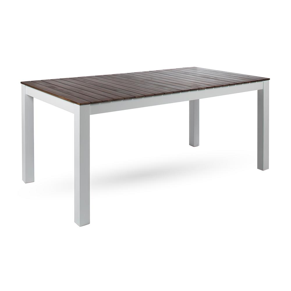Noble House Jillian Pu White Rectangular Wood Outdoor Dining Table