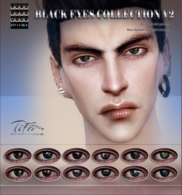 Tifa Sims: Black eyes collection V2 • Sims 4 Downloads