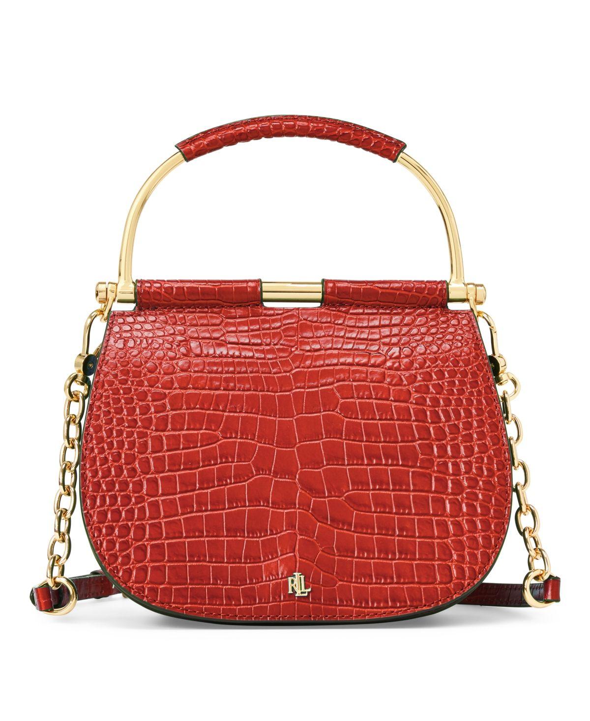 Lauren ralph lauren mason crocembossed leather satchel