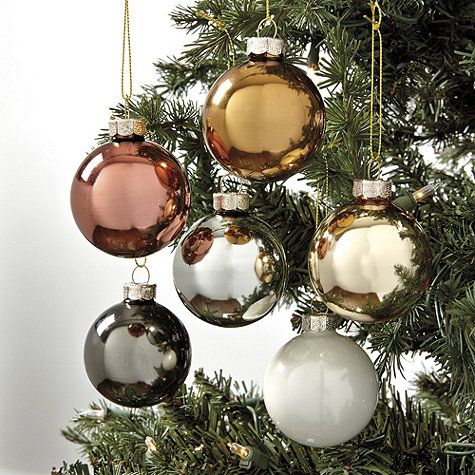 Mixed Metals Glass Ornaments - Set of 12 I\u0027m dreaming of a White