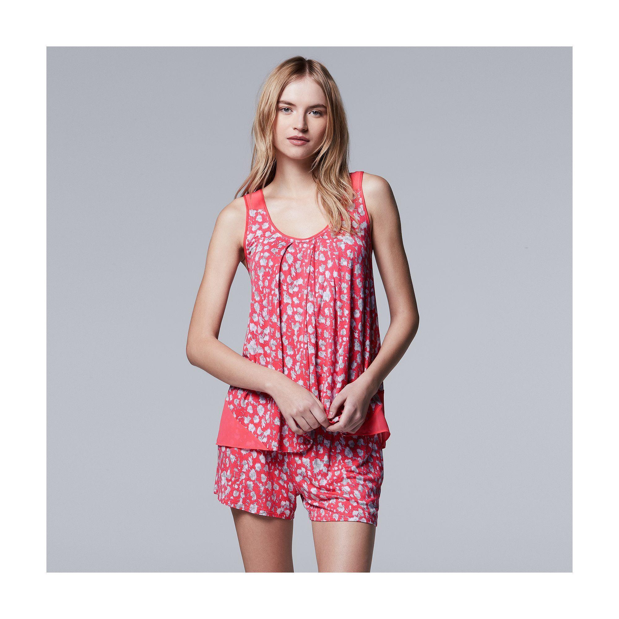 4069ef5ae559 Women s Simply Vera Vera Wang Pajamas  Spring Petals Tank   Boxer Shorts PJ  Set