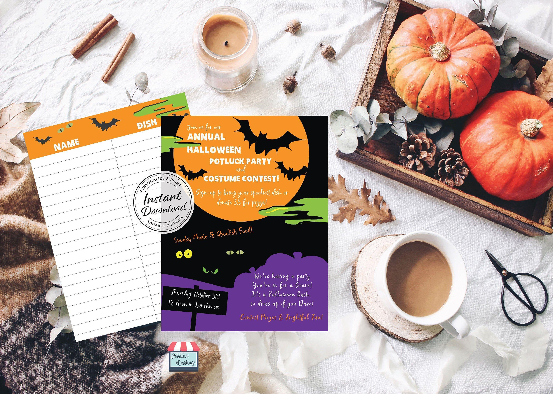 Halloween Potluck Flyer Ideas 2020 Halloween Potluck Flyer with Sign Up Sheet | Editable Digital