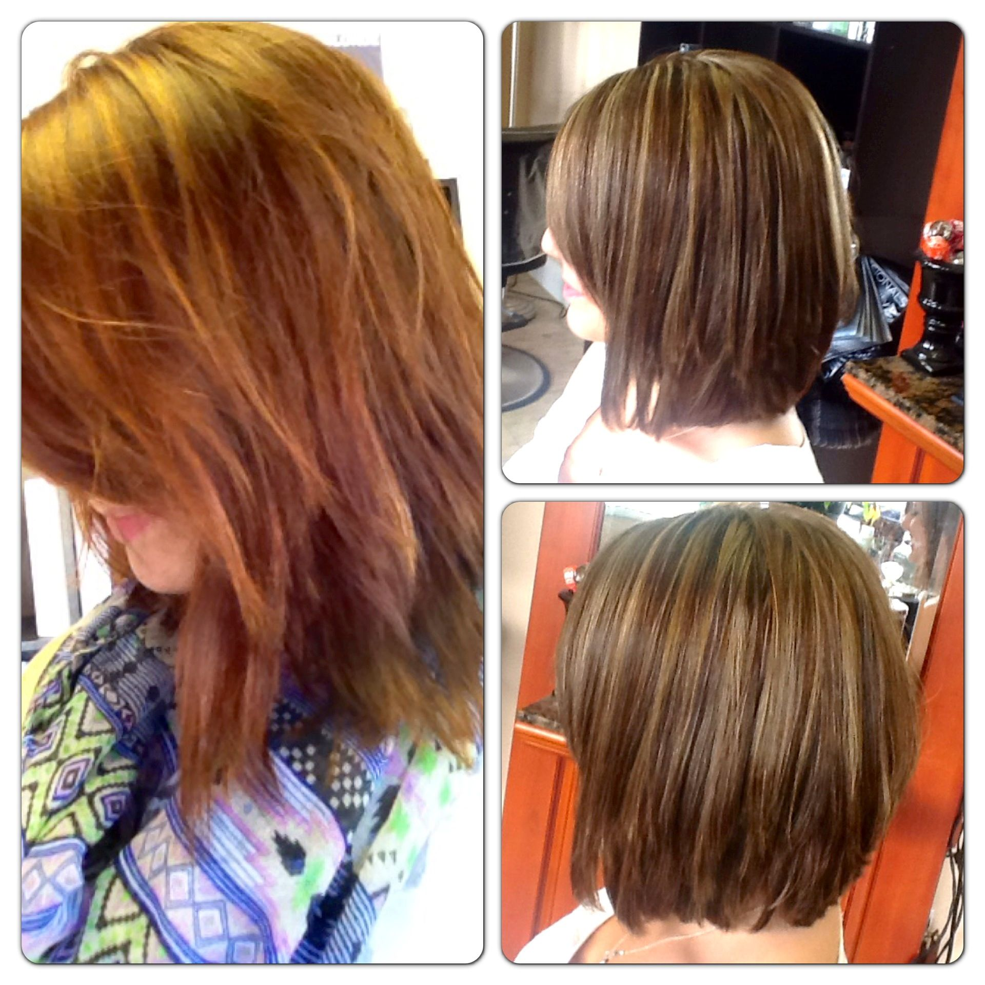 Before And After Redhead To Brunette With Natural Highlights By Amber Crouse Michelle S Salon Day Spa Dover Hair Color Natural Highlights Hair Styles