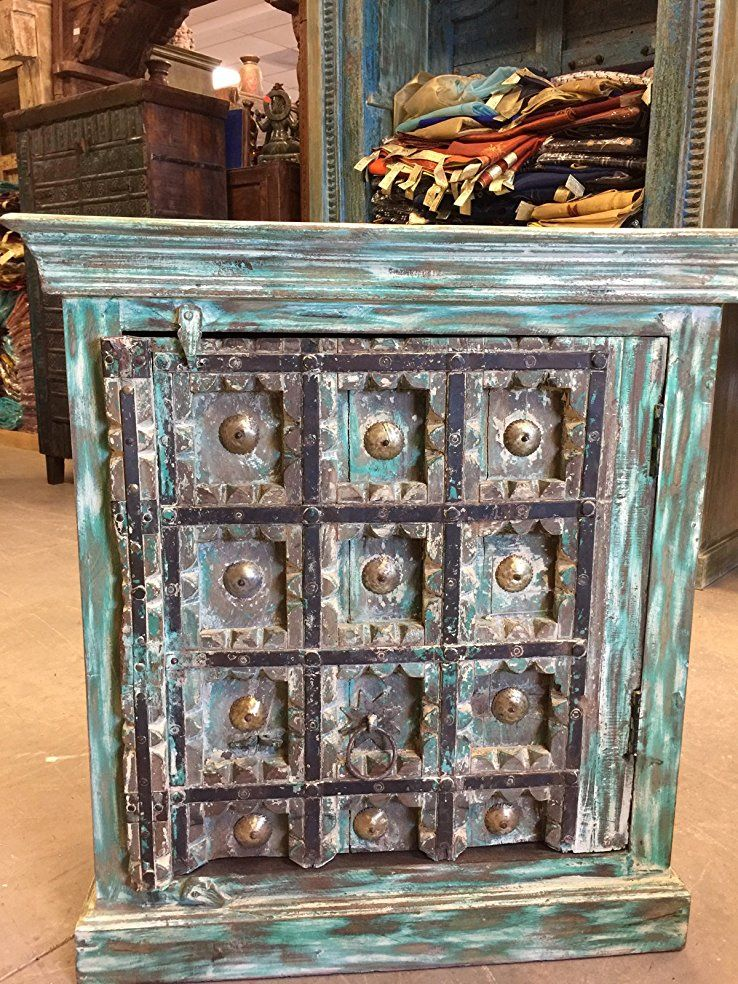Exceptionnel Mogul Interior Rustic Side Cabinet Furniture Antique Turquoise Distressed  Patina ChestGreen Home Decor Is Beautiful, Green Wall Art, Green Furniture  And ...