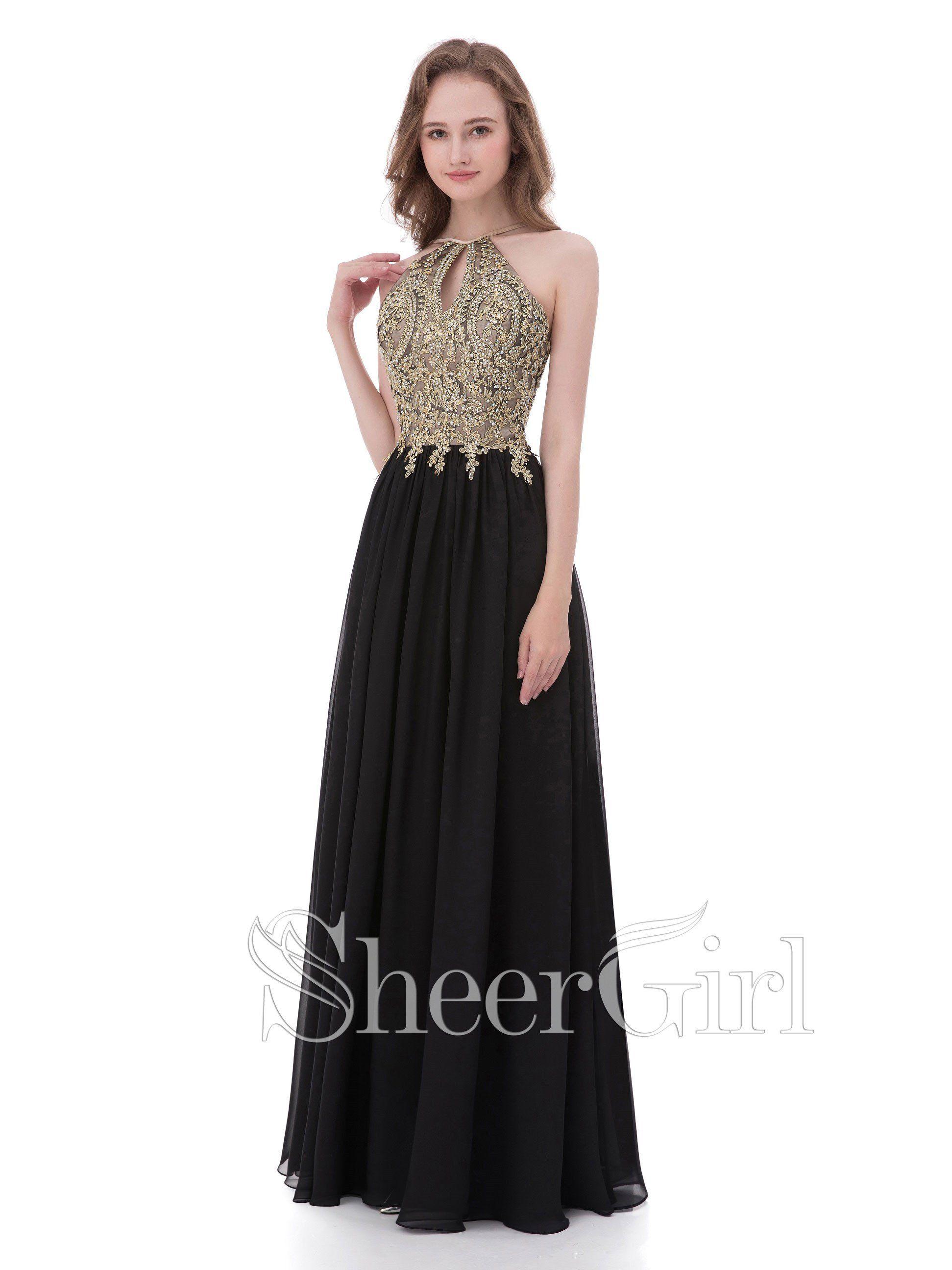 Aline Gold Lace Appliqued Black Chiffon Halter Long Prom Dresses