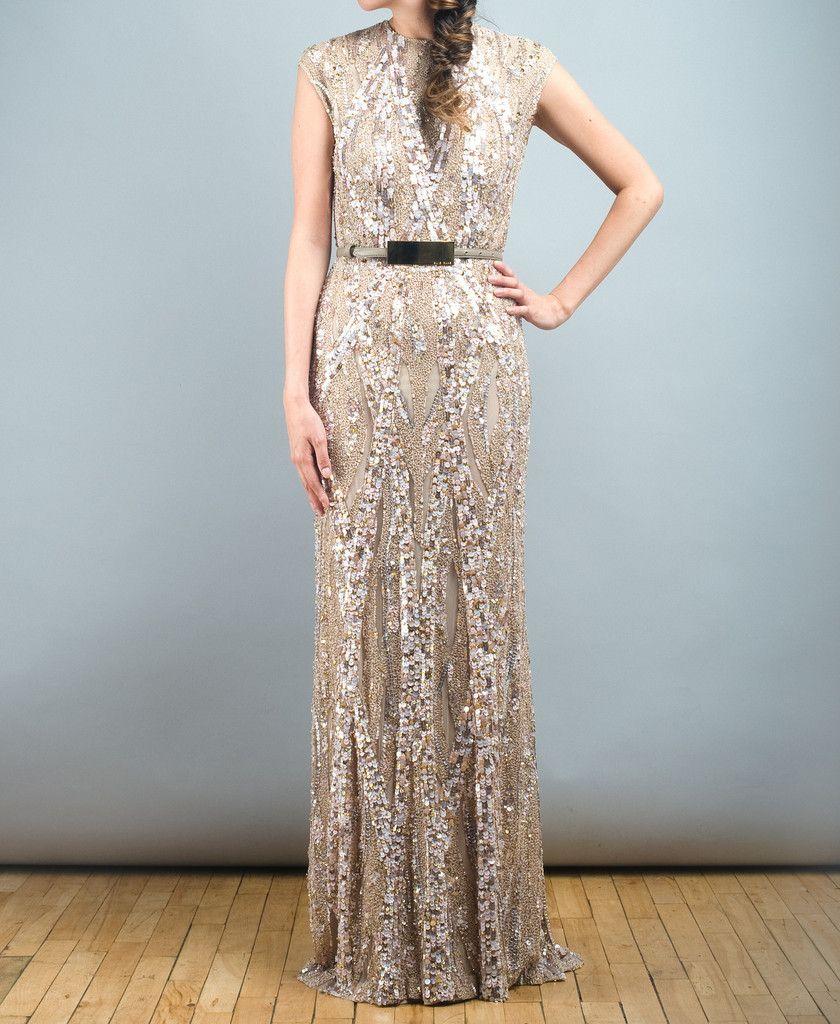 Elie Saab Light Taupe Fully Sequined Wedding Dress | Sequin wedding ...