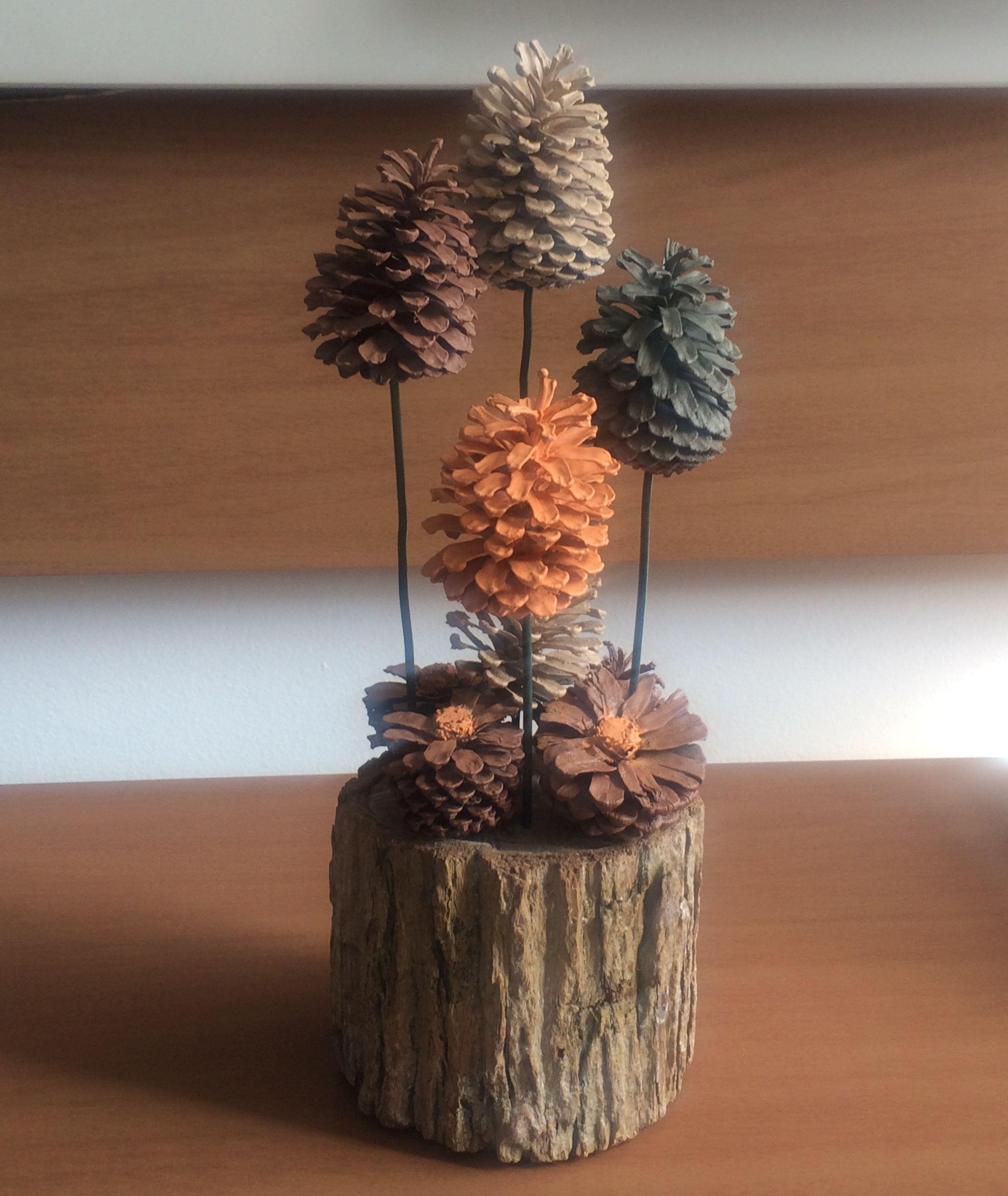 Pine cone nature art #pineconeflowers