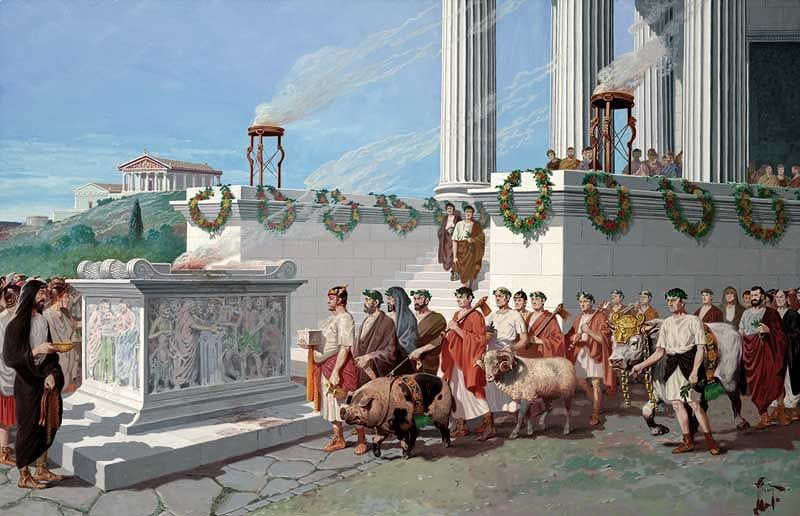 """""""Un suovetaurilia, il sacrificio solenne di un maiale (sus), una pecora (ovis) e un toro (taurus), che a Roma aveva un'importanza basilare nelle cerimonie lustrali, come quella che si svolgeva ogni cinque anni in Campo Marzio, presso l'ara di Marte, per la solenne purificazione dei cittadini"""""""