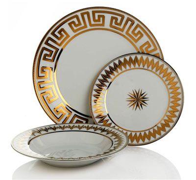 Colin Cowie Greek Key Dinnerware Set ♥ These~  sc 1 st  Pinterest & Gold Greek Key Dinnerware   H O U S E J E W E L R Y   Pinterest ...