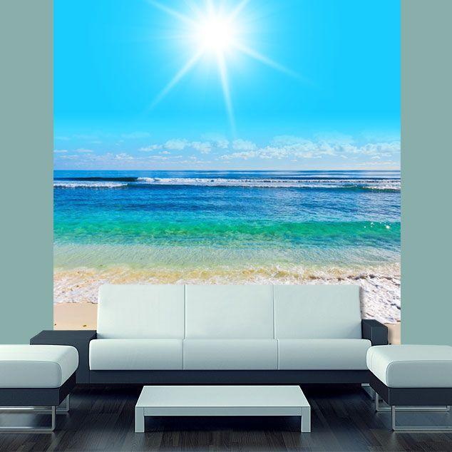 Wall STICKER MURAL beach scene sea ocean water summer sun rays light